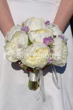 Ivory Silk Rose Wedding Bridal Bouquet with Lilac Sweetpea
