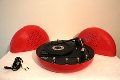 Red-1970-rare-BSR-TAPPO-KONTACT-turntable-Worldwide-shipping