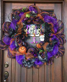 My diy Halloween mesh wreath on my front door.