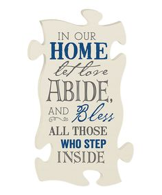 Look at this 'Love Abide' Puzzle Piece Wall Art on #zulily today!