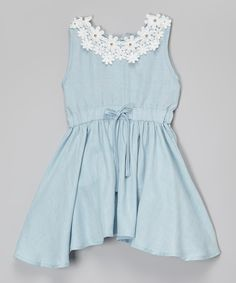 Look at this Light Blue Floral Denim Dress - Toddler & Girls on #zulily today!