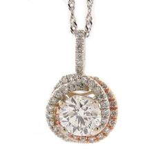 Diamond Necklace Sale - 14KT WHITE AND ROSE GOLD INTERTWINING DIAMOND PENDANT NECKLACE - Moyer Jewelers