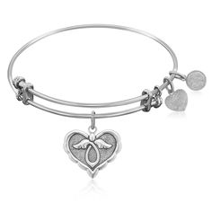 Expandable Bangle in White Tone Brass with Angel Comfort Hope Symbol