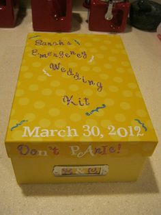 DIY Bridal Shower Gift! Has Emergancy things for Wedding Day! Check it out!! Cute Idea!