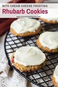 Easy Rhubarb Recipes, Rhubarb Desserts, Easy Baking Recipes, Cooking Recipes, Amish Recipes, Baking Ideas, Rhubarb Cookies, Rhubarb Oatmeal, Old Fashioned Oatmeal Cookies