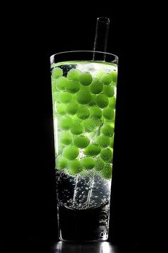 Bubble Tea Gin and Tonic. Jus Looks Awesome How Green Boba Looks In This Picture.