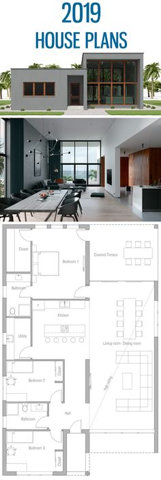 House Plan - Home Design, Modern House Plan, Minimalist House Designs Informatio - Layouts Casa, House Layouts, Modern Minimalist House, Minimalist Design, Modern House Plans, House Floor Plans, Small Modern Houses, Cool House Designs, Modern House Design