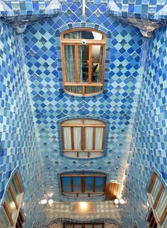 The Atrium of Casa Batlló (house of bones) substantially remodelled by Antoni Gaudí, Barcelona, Spain