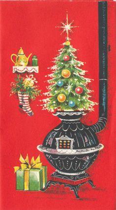 Vintage Greeting Card Christmas Tree Coal Stove Pipe Stove i163