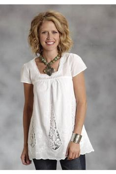 1005e6c7 Women's Short Sleeve Solid White Lawn Babydoll Top Stetson Ladies  Collection- Spring Ii