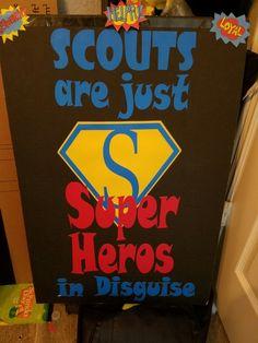 Scout blue & gold superhero banquet Cub Scouts Wolf, Beaver Scouts, Tiger Scouts, Super Hero Activities, Cub Scout Activities, Scout Mom, Daisy Girl Scouts, Brownie Girl Scouts, Girl Scout Cookies