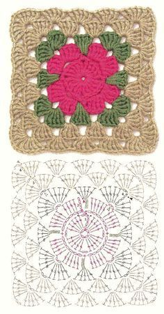 Crocheting a granny squares is a great thing that can easily increase your crocheting skills. So if you are an experienced Crochet Granny Squares Patterns Crochet Motif Patterns, Crochet Blocks, Granny Square Crochet Pattern, Crochet Diagram, Crochet Chart, Crochet Squares, Crochet Granny, Motifs Granny Square, Granny Squares