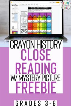 FREE crayola themed reading passages to practice close reading strategies! This FREE set includes 3 differentiated passages, writing prompts, graphic organizer, mystery pictures and more! Great for 3rd grade, 4th grade and 5th grade! These high interest passages teach your students about the history of Crayola. Includes text dependent questions an a motivating mystery picture to color! Your students will LOVE close reading with this fun reading comprehension activity!