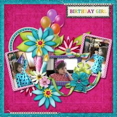 Colorful scrapbook layout with three pictures