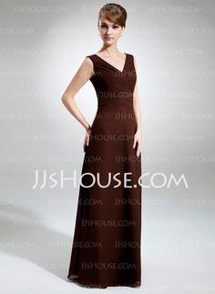 Sheath V-neck Floor-Length Chiffon Bridesmaid Dresses With Ruffle (007001832)