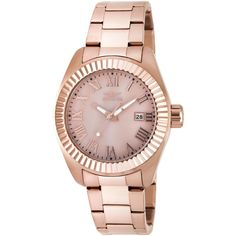 Invicta Invicta Women's Women's Angel 18K Rose Gold Plated Stainless... ($170) ❤ liked on Polyvore featuring jewelry, watches, gold, pink watches, pink-face watches, leather-strap watches, water resistant watches and invicta wrist watch
