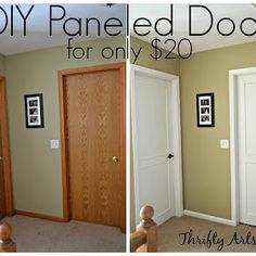 Hollow Core Bore to a Beautiful Updated Door: DIY Slab Door Makeover/(Pinning just in case I purchase an older home & want to redo the doors) Ya never know! Home Projects, Home, Closet Door Makeover, Diy Home Improvement, Home Remodeling, Panel Doors Diy, Diy Door, Home Renovation, Home Diy