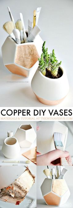 DIY Copper Vases - These DIY Copper Gold Leaf Storage Vases are adorable and super easy to make! PIN IT NOW and make them later!