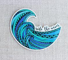 Surf Wave Sticker, Ride the Waves, Ocean love decal, Boho Summer Spirit, Snorkeling Adventure Kayaki Surf Stickers, Mirror Stickers, Tumblr Stickers, Phone Stickers, Diy Stickers, Aesthetic Stickers, Vsco, Sticker Vinyl, Sticker Ideas