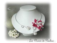Collier mariage fuchsia et blanc fleur de Satin Anaïs : Collier par lesnocesdepauline
