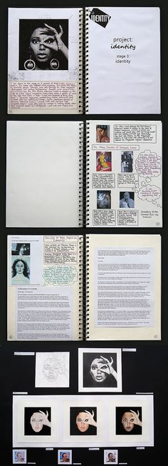 It is worth noting that Abby has separated her project into discrete stages; each investigating different artists and different interpretations of her topic. The collection of sketchbook pages above lead toward her second A1 prep sheet (with enlarged artworks from this shown below).
