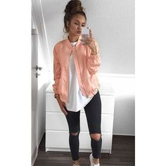 AJ | VOYAGE Peach Soft Light Weight Silky Bomber Jacket ($46) ❤ liked on Polyvore featuring outerwear, jackets, pink, pink jacket, lightweight bomber jacket, white zip jacket, white bomber jacket and blouson jacket