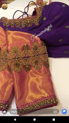 Pattu Saree Blouse Designs, Designer Blouse Patterns, Bridal Blouse Designs, Saree Blouse Neck Designs, Dress Designs, Hand Work Blouse Design, Simple Blouse Designs, Diana, Maggam Works
