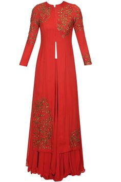 Red floral embroidered kurta and lehenga set available only at Pernia's Pop Up Shop.