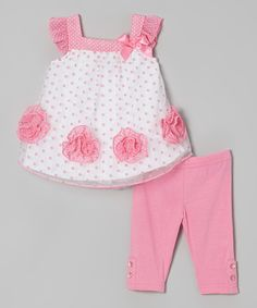 Loving this Nannette Baby Hot Pink & White Polka Dot Dress & Leggings - Infant on Baby Dress Design, Baby Girl Dress Patterns, Baby Girl Dresses, Little Girl Outfits, Kids Outfits, White Polka Dot Dress, Pink White, Hot Pink, Baby Kind