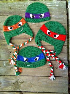 Ninja Turtles Beanie and Earflap Hat CROCHET by AnnieJoCreations