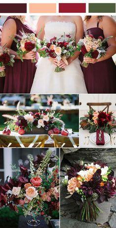 rustic burgundy and peach fall wedding ideas for 2017