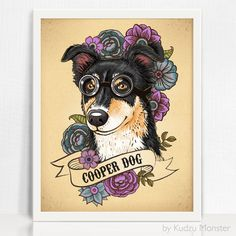 This listing is for a custom stylized pet portrait illustration and high quality art print.  Choose your print size to the right! Simply place your order here &