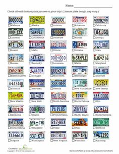 Worksheets: License Plate Game, Great for the kids to do in the car while on a road trip!!