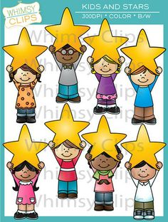 This is a fun clip art set with kids holding stars above their heads. The kids and stars clip art set contains 16 image files, which includes 8 color images and 8 black & white images in png and jpg. All images are 300dpi for better scaling and printing. $