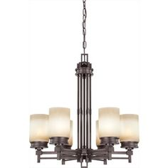 Wright 26-In 6-Light Prairie Bronze Tinted Glass Candle Chandelier Lw4
