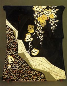 Silk kimono created by Nakamura Katsuma . Japan. 1950s. Hand-painted, embroidered and embellished with brocade applique.