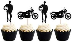 LaVenty Set of 24 Black Motorcycle Cupcake Toppers Scooter Cake Decoration Motorcycle Themed Cupcake Toppers for Man's or Boy's Birthday Party Decoration Cosmetology Cake, Themed Cupcakes, Birthday Party Decorations, Cupcake Toppers, Cake Decorating, Motorcycle, Boys, Airplane, Activities
