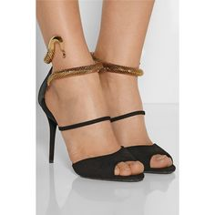 Coline snake-effect metal and suede sandals (1 110 AUD) via Polyvore featuring shoes, sandals, suede sandals, suede leather shoes, suede shoes, snake shoes and snake sandals