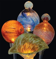 Firefly Original Solar Garden Art - available in a variety of shapes and colors, all solar and perfect way to add a touch of hand blown glass art to your garden or yard