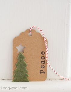 Homemade Christmas Gift Tags Day 1: Toothpick Tree - One Dog Woof