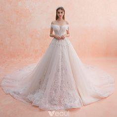 Charming Ivory Wedding Dresses 2019 A-Line / Princess Off-The-Shoulder Beading Tassel Lace Flower Sequins Short Sleeve Backless Royal Train