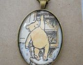Winnie the Pooh necklace, book page necklace, book page pendant, winnie the pooh jewellery, upcycled jewellery