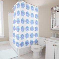 #white - #Soft Blue Lavender Daisy Pattern Shower Curtain
