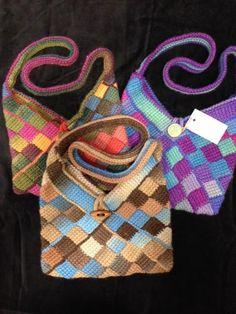 Entrelac crocheted bags. Kaye Adolphson Designs