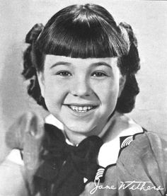 """Jane Withers (born April is an American actress, model, and singer. Beginning a prolific career as a child actress at the age of three, Withers is a Young Artist Award–Former Child Star """"Lifetime Achievement"""" Award honoree, best known for being o Child Actresses, Child Actors, Actors & Actresses, Golden Age Of Hollywood, Hollywood Stars, Old Hollywood, Jane Withers, Procter And Gamble, Children's Films"""