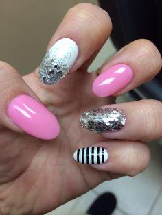 Acrylic nails pink white sparkles stripes