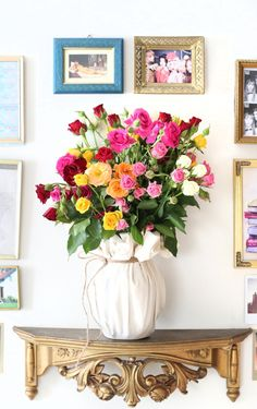 This is a perfect way to dress up my vase! A good trick to do when you don't want to see the vase with the dirty water... although now it will be harder to remember to change it. ;) The Bouqs are a great way to liven up your home or office.