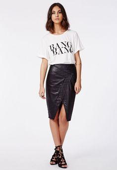 April Wrap Over Faux Leather Midi Skirt Black - Skirts - Missguided