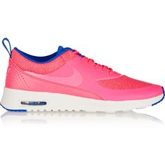 Nike Air Max Thea Premium coated-mesh and leather sneakers (395 HRK) ❤ liked on Polyvore featuring shoes, bright pink, lace up shoes, nike footwear, laced shoes, genuine leather shoes and round toe shoes