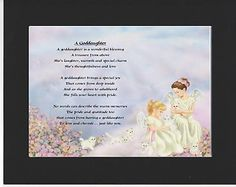 PERSONALISED GODDAUGHTER POEM – MOUNTED     ANGELS & KITTENS  DESIGN         On offer here is this wonderful poem about a goddaughter personalised with your goddaughters details on  the  background featured.
